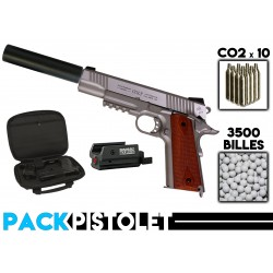 PACK PISTOLET 1911 STAINLESS/SILENCIEUX/LASER/HOUSSE
