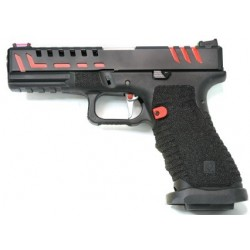 PISTOLET APS SCORPION CO2 BLOWBACK BLACK RED