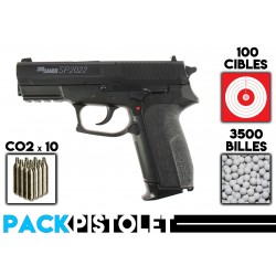 PACK PISTOLET SIG SAUER SP2022/BILLES/CIBLES/CO2