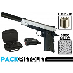 PACK PISTOLET 1911 STAINLESS DT/SILENCIEUX/LASER/HOUSSE