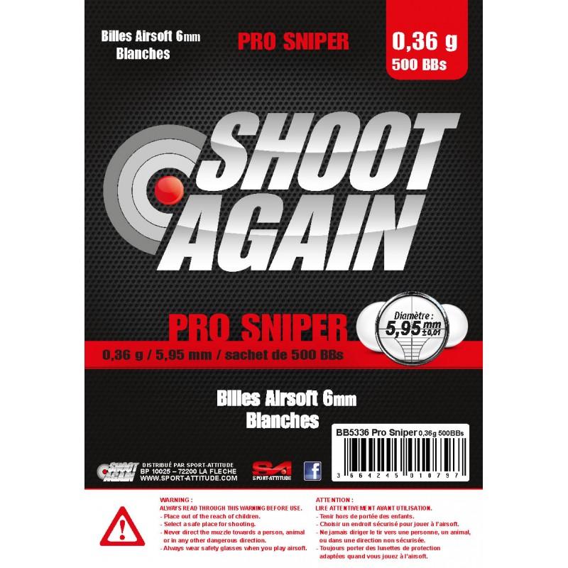 BILLES AIRSOFT SHOOT AGAIN PRO SNIPER 0.36 PAR 500AirsoftAutres