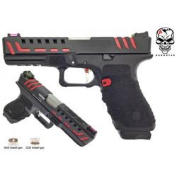 PISTOLET APS SCORPION GAZ BLOWBACK BLACK RED