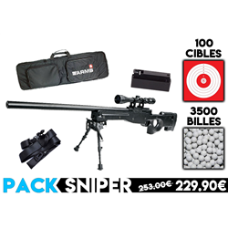 PACK SNIPER AW308/LUNETTE/BI-PIED/CHARGEUR