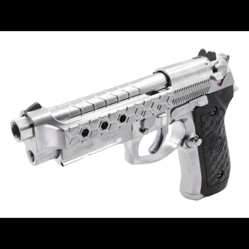 PISTOLET WE M92 HEX CUT SILVER GBBAirsoft