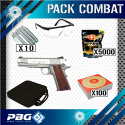 PACK COMBAT 1911 RAIL STAINLESS+HOUSSE+LUNETTES+CIBLE