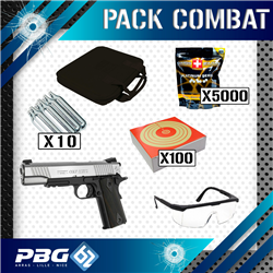 PACK COMBAT 1911 RAIL STAINLESS DUAL+HOUSSE+LUNETTES+CIBLE